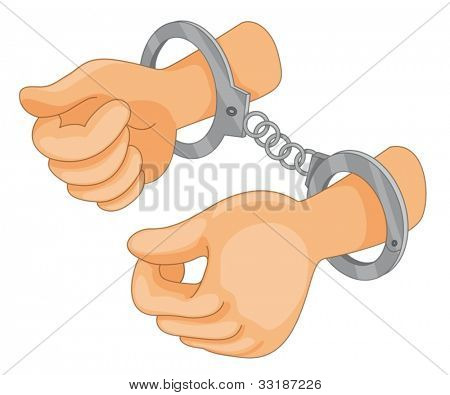 Illustration of hand cuffs with hands
