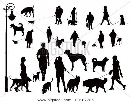 People walking with dogs. Black and white vector illustration.