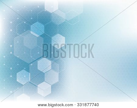 Blue Technology And Science Background, Abstract Creative Design With Dot And Line, Hexagon Shape On