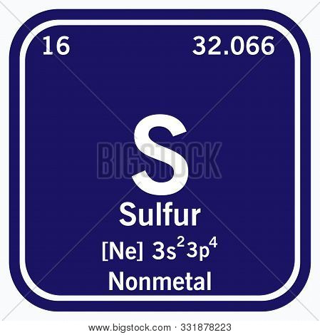 Sulfur Periodic Table Of The Elements Vector Illustration Eps 10.
