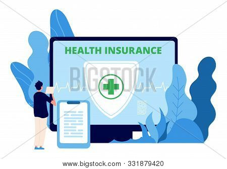 Health Insurance. Healthcare Business Vector Concept. Man Takes Out Health Insurance Online. Illustr