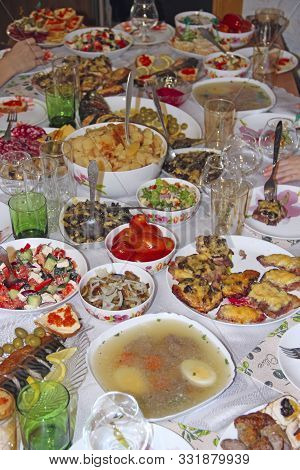 Set Of Different Meaty And Vegetable Dishes. Festive Dinner At Home