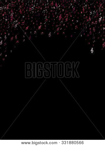Pink Flying Musical Notes Isolated On Black Background. Purple Musical Notation Symphony Signs, Note