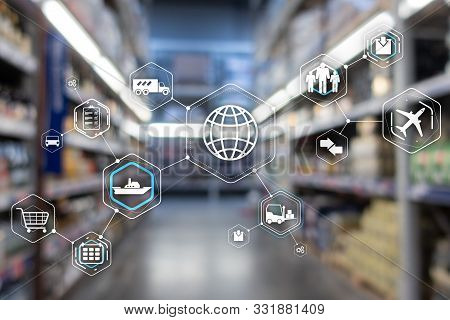 Logistics And Transportation Concept On Supermarket Background.