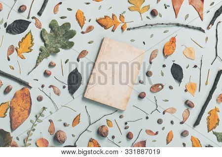 Vintage Book Cover Mock Up With Autumn Decoration, Flat Lay Top View Copy Space