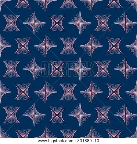 Abstract Pink Rhombus Wave Lines Background Texture In Geometric Ornamental Style. Seamless Design