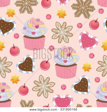 Holliday Bright Vector Seamless Pattern With Holiday Food