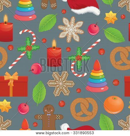 Holliday Bright Vector Seamless Pattern With Holiday Objects On A Grey Background