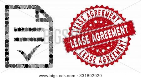 Mosaic Agreement Document And Distressed Stamp Seal With Lease Agreement Phrase. Mosaic Vector Is Fo