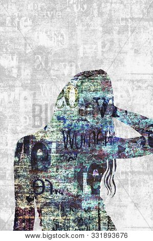 Contemporary Art Fashion Background. Beautiful Female Silhouette. Newspapers Art Print. Young Woman