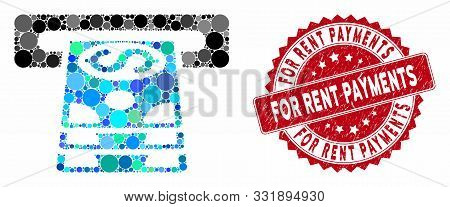 Mosaic Bank Cashpoint And Distressed Stamp Seal With For Rent Payments Text. Mosaic Vector Is Design