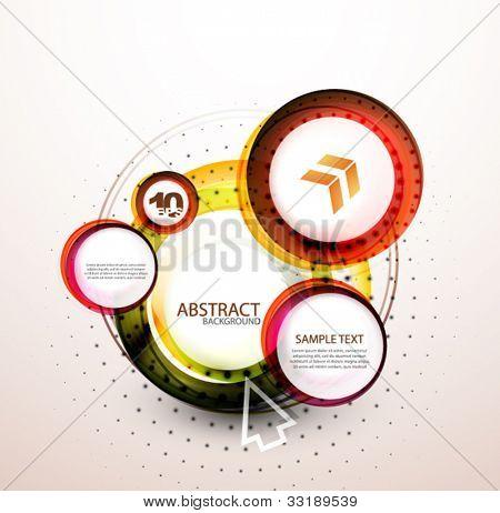 Abstract orange web banner made of circles