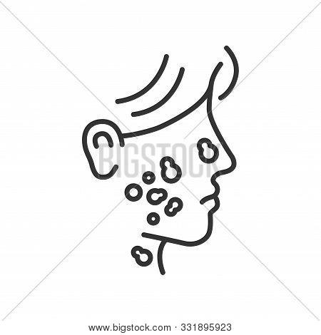 Skin Cancer Line Black Icon. Human Dermatology Disease Concept. Malignant Neoplasm.