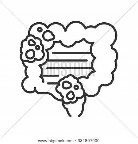 Bowel Cancer Line Black Icon. Human Organ Concept. Malignant Neoplasm.