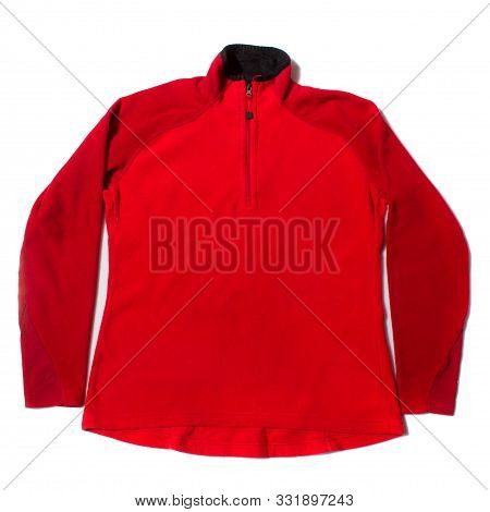 Red Womens Fleece Base Layer On White Background