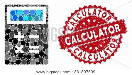 Mosaic Calculator And Corroded Stamp Seal With Calculator Text. Mosaic Vector Is Created From Calcul