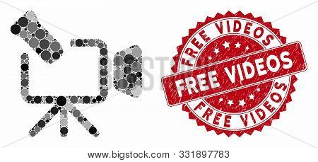 Mosaic Camcorder And Rubber Stamp Seal With Free Videos Phrase. Mosaic Vector Is Created From Camcor