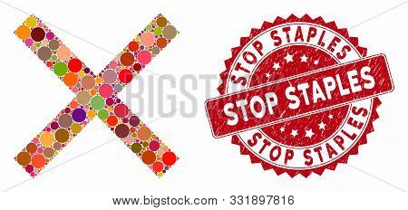 Mosaic Cancel And Distressed Stamp Seal With Stop Staples Text. Mosaic Vector Is Designed With Cance