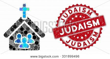 Collage Church People And Rubber Stamp Seal With Judaism Text. Mosaic Vector Is Designed With Church