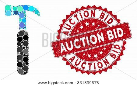 Mosaic Claw Hammer And Grunge Stamp Seal With Auction Bid Text. Mosaic Vector Is Created With Claw H