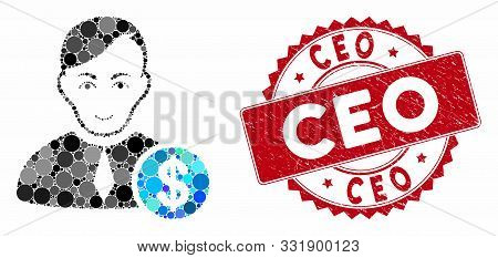 Mosaic Commercial Loyer And Rubber Stamp Seal With Ceo Text. Mosaic Vector Is Formed With Commercial