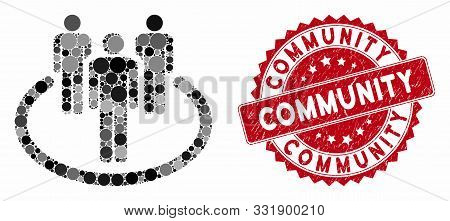 Mosaic Community And Corroded Stamp Seal With Community Phrase. Mosaic Vector Is Composed With Commu
