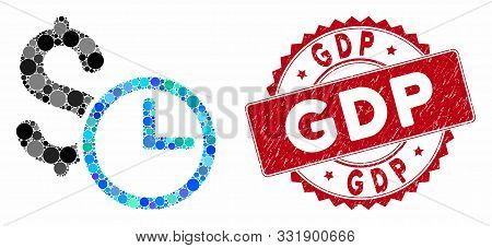 Mosaic Credit And Grunge Stamp Seal With Gdp Caption. Mosaic Vector Is Designed With Credit Icon And