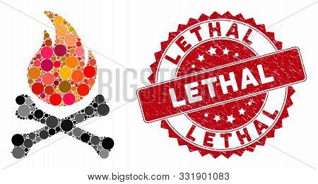 Collage Death Bones Flame And Grunge Stamp Seal With Lethal Caption. Mosaic Vector Is Formed From De