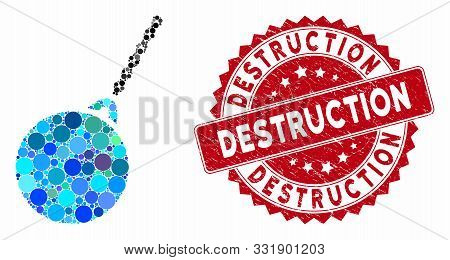 Mosaic Destruction Hammer And Grunge Stamp Seal With Destruction Text. Mosaic Vector Is Created With