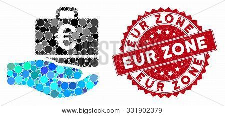 Collage Euro Accounting Hand And Grunge Stamp Seal With Eur Zone Phrase. Mosaic Vector Is Created Wi