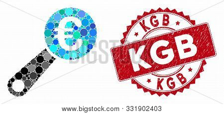 Mosaic Euro Audit And Grunge Stamp Seal With Kgb Phrase. Mosaic Vector Is Formed With Euro Audit Ico