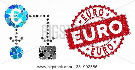 Mosaic Euro Flow Chart And Grunge Stamp Seal With Euro Text. Mosaic Vector Is Designed From Euro Flo