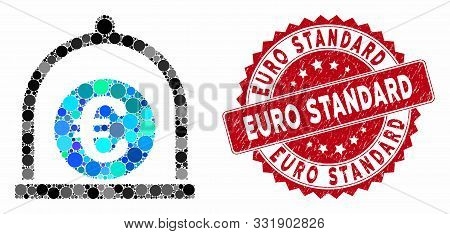 Mosaic Euro Standard And Distressed Stamp Seal With Euro Standard Caption. Mosaic Vector Is Designed