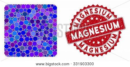 Mosaic Filled Square And Rubber Stamp Seal With Magnesium Text. Mosaic Vector Is Created With Filled