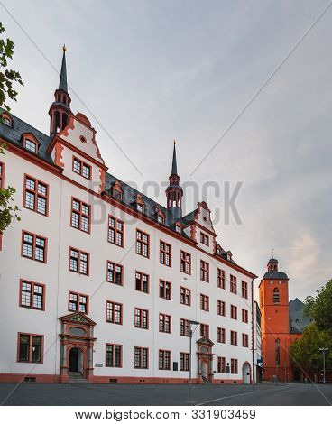 Mainz, Germany - August 11, 2018: Old Building Of Domus Universitatis In Renaissance Style And Churc