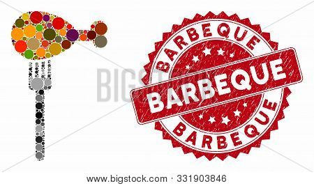 Mosaic Fork And Corroded Stamp Seal With Barbeque Caption. Mosaic Vector Is Composed With Fork Icon