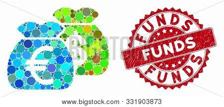 Mosaic Funds And Rubber Stamp Seal With Funds Phrase. Mosaic Vector Is Formed With Funds Icon And Wi