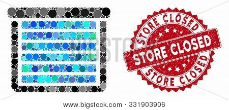 Mosaic Garage Closed And Grunge Stamp Seal With Store Closed Phrase. Mosaic Vector Is Composed With
