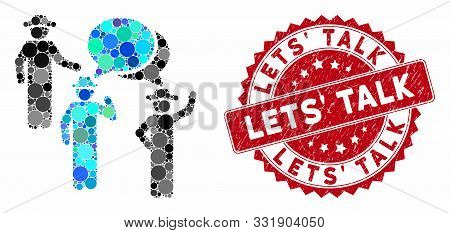 Mosaic Gentlemen Discussion And Distressed Stamp Seal With Lets Talk Text. Mosaic Vector Is Composed