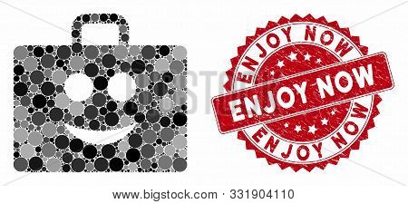 Mosaic Glad Case And Corroded Stamp Seal With Enjoy Now Caption. Mosaic Vector Is Designed With Glad