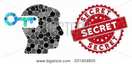 Mosaic Intellect Key And Corroded Stamp Seal With Secret Caption. Mosaic Vector Is Formed With Intel