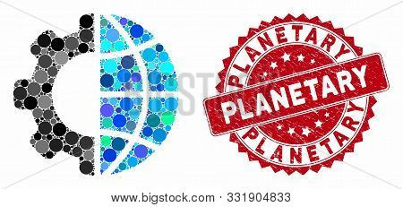 Mosaic International Manufacture And Rubber Stamp Seal With Planetary Phrase. Mosaic Vector Is Desig