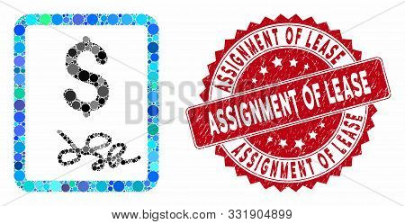 Mosaic Invoice Page And Grunge Stamp Watermark With Assignment Of Lease Caption. Mosaic Vector Is De
