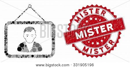 Mosaic Man Portrait And Rubber Stamp Watermark With Mister Phrase. Mosaic Vector Is Designed With Ma
