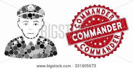 Collage Military Captain And Corroded Stamp Seal With Commander Caption. Mosaic Vector Is Composed W