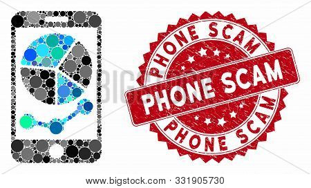 Mosaic Mobile Graphs And Grunge Stamp Seal With Phone Scam Phrase. Mosaic Vector Is Designed With Mo