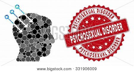 Mosaic Neural Interface Connectors And Rubber Stamp Seal With Psychosexual Disorder Text. Mosaic Vec