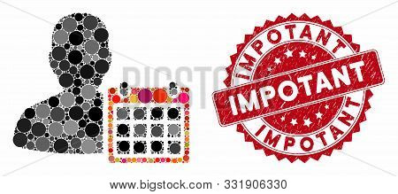 Mosaic Patient Calendar And Corroded Stamp Seal With Impotant Text. Mosaic Vector Is Composed With P