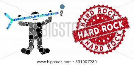 Mosaic Rock Concert And Rubber Stamp Seal With Hard Rock Text. Mosaic Vector Is Designed From Rock C