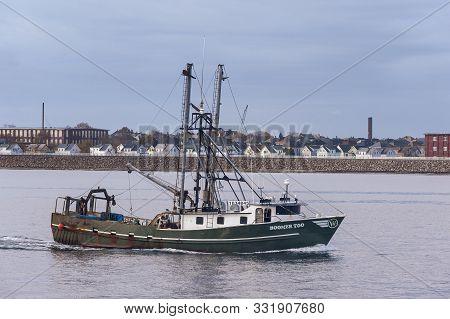 New Bedford, Massachusetts, Usa - November 5, 2019: Commercial Fishing Boat Boomer Too, Hailing Port